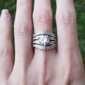 🆕️Sterling 2.26CT White Sapphire Ring Set Sz 7